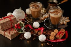 Coffee. Christmas and New Year composition stock photos