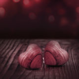 Still life with two hearts. In tender red for a love message Stock Photo