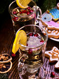Still life of two wine glasses with hot punch. Stock Photo