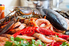 Still life with uncooked seafoods Stock Photo