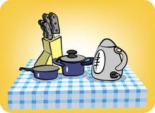 Still life of utensils: cutlery, frying pan, saucepan Stock Image