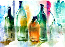 Still life of various bottles. Colorful still life of various bottles. Wet-in-Wet watercolor technique Royalty Free Stock Photography