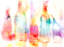 Still life of various bottles over white background. Wet-in-Wet watercolor technique Royalty Free Stock Images