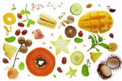Still life of Various cut tropical yellow fruits Stock Photo
