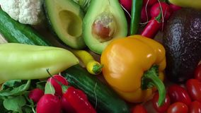 Still life with various fresh organic vegetables stock video footage