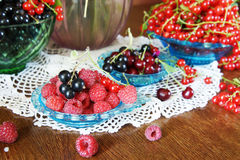 Still life with various fresh ripe berries Royalty Free Stock Image