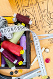 Still life various sewing accessories Royalty Free Stock Image