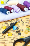 Still life various sewing accessories Royalty Free Stock Photos