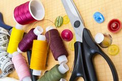 Still life various sewing accessories Stock Photography
