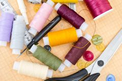 Still life various sewing accessories Stock Photo
