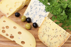 Still life of various types of cheese Stock Photos