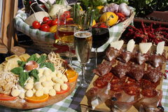 Still life with various types of Italian food and wine.  Stock Photos