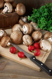 Still life with various vegetables. Brown cap mushrooms, radish and parsley with cutting board and knife on rustic wooden background Royalty Free Stock Photo