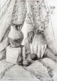 Still life vase charcoal hand drawing Stock Photo