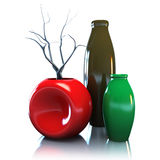 Still life with vases and dried brunch. 3D Illustration Stock Images