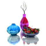 Still life with vases and dried brunch. 3D Illustration Stock Photography