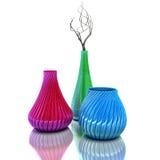 Still life with vases and dried brunch. 3D Illustration.  stock illustration