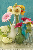 Still life of vases with flowers Stock Photos