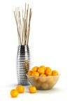 Still life with vases and oranges Royalty Free Stock Photo