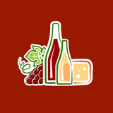 Still-life. Vector illustration of grapes, wine and cheese Royalty Free Stock Photo