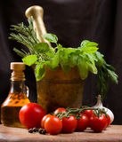 Still life with vegetable, herbs and olive Royalty Free Stock Images