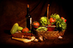 Still life with vegetables. And wine Stock Photography