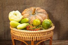 Still Life, vegetables in bamboo basket. Royalty Free Stock Photo