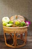 Still Life, vegetables in bamboo basket. Stock Photos