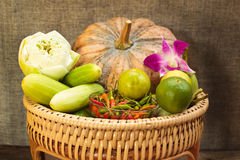 Still Life, vegetables in bamboo basket. Royalty Free Stock Photos