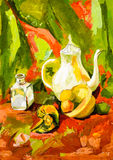 Still-life vegetables cup teapot painting Royalty Free Stock Photos