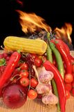 Still Life With Vegetables and Fire XXXL Royalty Free Stock Photo