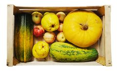 Still life, vegetables and fruits Stock Images