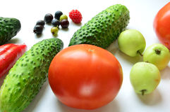 Still life. Vegetables and fruits, berries. Autumn. Still life. Ripe fruits and vegetables. On a light background. Autumn stock photo