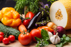 Still life with vegetables and fruits closeup Stock Photos