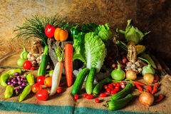 Still life  Vegetables, Herbs and Fruit. Stock Image