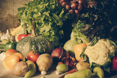 Still life  Vegetables, Herbs and Fruit. Royalty Free Stock Images