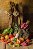 Still life  Vegetables, Herbs and Fruits. Royalty Free Stock Photography