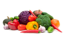 Still life of vegetables isolated on white background Stock Photography