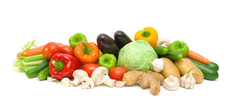 Still life of vegetables and mushrooms on a white background Stock Photo