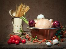 Still life with vegetables and pasta Stock Image