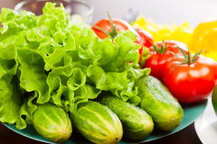Still life of vegetables on plate Royalty Free Stock Images