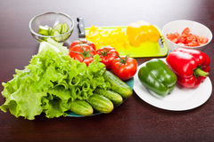 Still life of vegetables on plate. Focus on lettuce. Colorful Royalty Free Stock Photo
