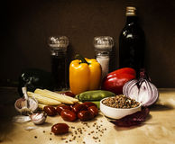 Still life with vegetables. And spices royalty free stock images