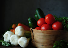 Still life with vegetables. Spring and summer vegetables to your table. Healthy eating. Vegetarian food. Low calories Stock Photo
