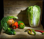 Still life of vegetables on a table. Still life of fresh vegetables on a table Royalty Free Stock Photography