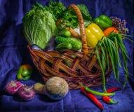 Still life of vegetables on a table. Still life of fresh vegetables on a table Royalty Free Stock Image