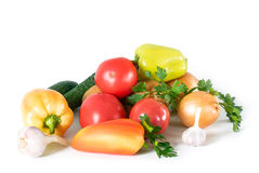 Still life from vegetables on white Stock Photo