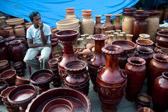 Still life. A vendor selling beautifully designed clay pots in an art fair in Bengal, India royalty free stock photos