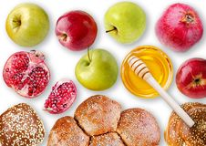 Still life View from above - challah, apples, pomegranate and bo Stock Images