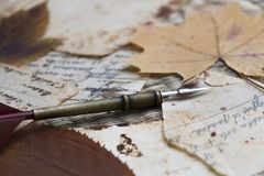 Still life. View of old handwritten notes on stained papers. Dried leaves. Quill. stock photos